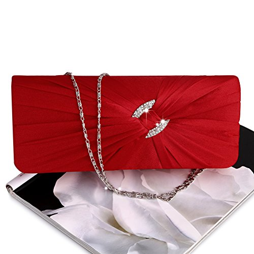 Purse Rhinestone Evening Bag Bridal Handbag Shoulder Shoresu Red Clutch Women Bling Chain Red qfAFXwT