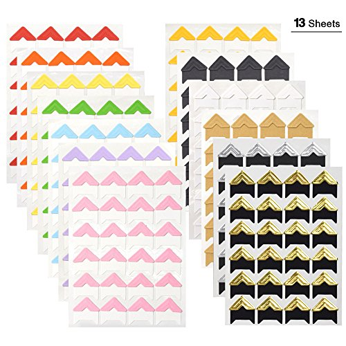 WXJ13 13 Sheets 13 Colors Photo Mounting Corners Photo Corners Self Adhesive for DIY Scrapbooking, Picture Album Scrapbooking Photo