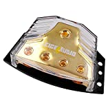 LEIGESAUDIO Copper 0/2/4 gauge in 4/8/10 gauge out Amp Power Distribution Block For Car Audio Splitter (1 In 4 Out)