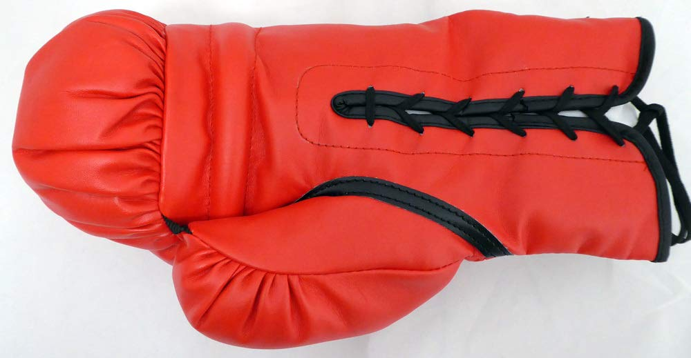 Boxing Greats Autographed Red Everlast Boxing Glove With 3 Signatures Including Sugar Ray Leonard, Thomas Hearns & Roberto Duran LH Beckett (BAS)