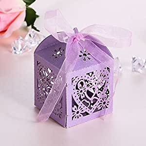50 Love Heart Candy Gift Boxes With Ribbon Engagement Party Wedding Party Favor