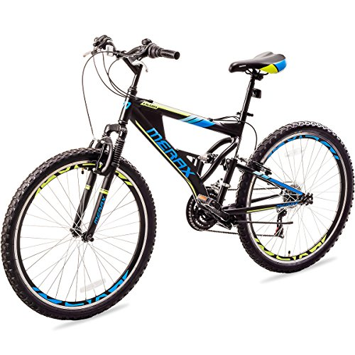 Merax Falcon Full Suspension Mountain Bike Aluminum Frame 21-Speed 26-inch Bicycle (Black&Blue)