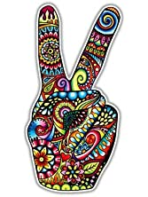 Peace Sign Sticker Hand Deuces Decal by Megan J Designs - Laptop Window Car Vinyl Sticker
