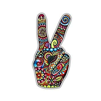 Amazoncom Peace Sign Sticker Hand Deuces Decal By Megan J - Vinyl decal car signs