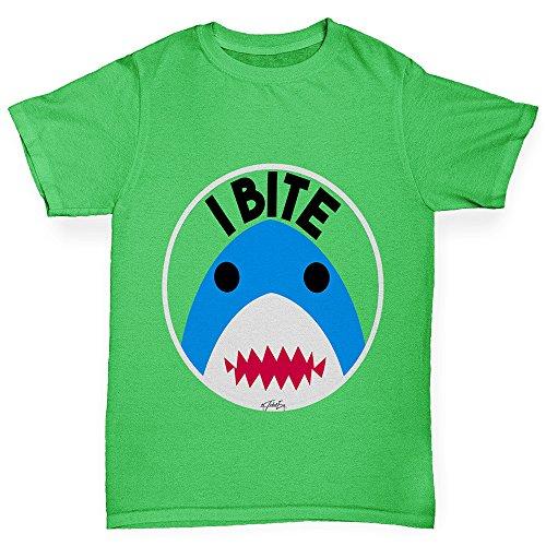 Bite Green T-shirt - TWISTED ENVY Kids Funny Tshirts I Bite Shark Boy's T-Shirt Age 9-11 Green