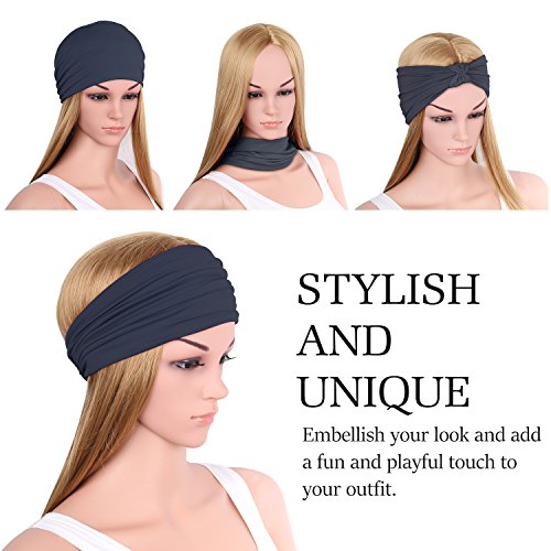 Versatile Lightweight Sports Headband, MoKo Breathable Moisture Wicking Multi-use Headwear, Soft Stretchy Knotted Hair Band Turban Head Wrap, for Workout, Running, Yoga, Fitness, Casual etc. - Indigo