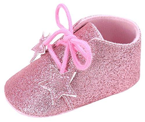 EOZY Babyschuhe Mädchen Glitzer Lauflernschuhe Festliche Schuhe Taufschuhe Pink