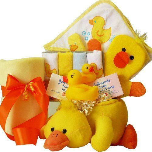 Bath Time Essentials Rubber Duck Baby Gift Basket, Neutral Boy or Girl