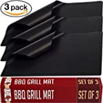 Nonstick BBQ Grill Mat Perfect for Charcoal Electric and Gas Grill Reusable Easy to Clean Set of 3 Mats Essential Grilling Accessories for Home Cooks and Grillers