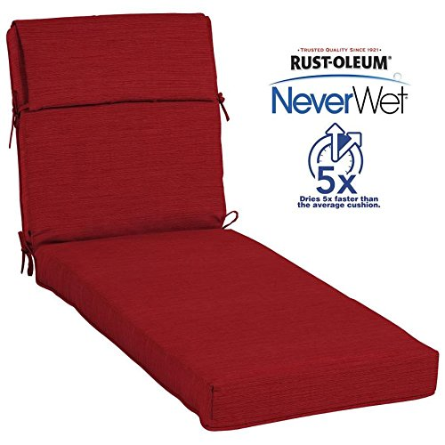 Allen + Roth Neverwet 1 Piece Cherry Red Patio Chaise Lounge Chair Cushion