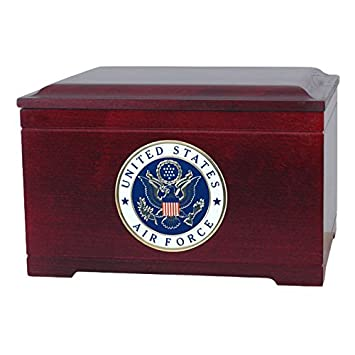 Wood Cremation Urn – Rosewood Memory Chest Military Urn Air Force