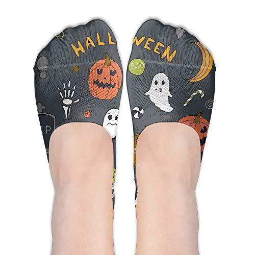 PangYuen Halloween Gray Women's Polyester Cotton Socks Ladies Boat Socks Deodorant Boat Socks Thin Section Casual Socks Low Breast Socks