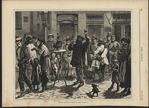 Jackos Matinee Dancing Monkey Street 1871 antique wood engraved print