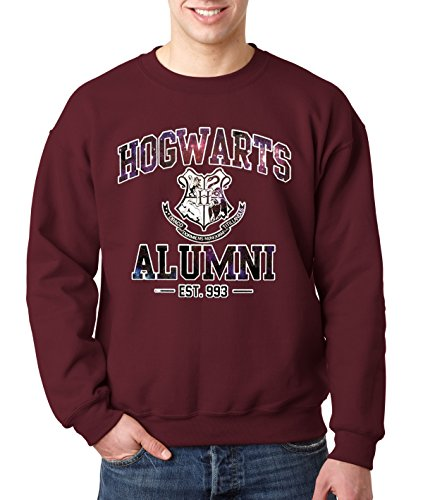 New Way 214 - Crewneck Hogwarts Alumni Galaxy Harry Potter Unisex Pullover Sweatshirt Large Maroon