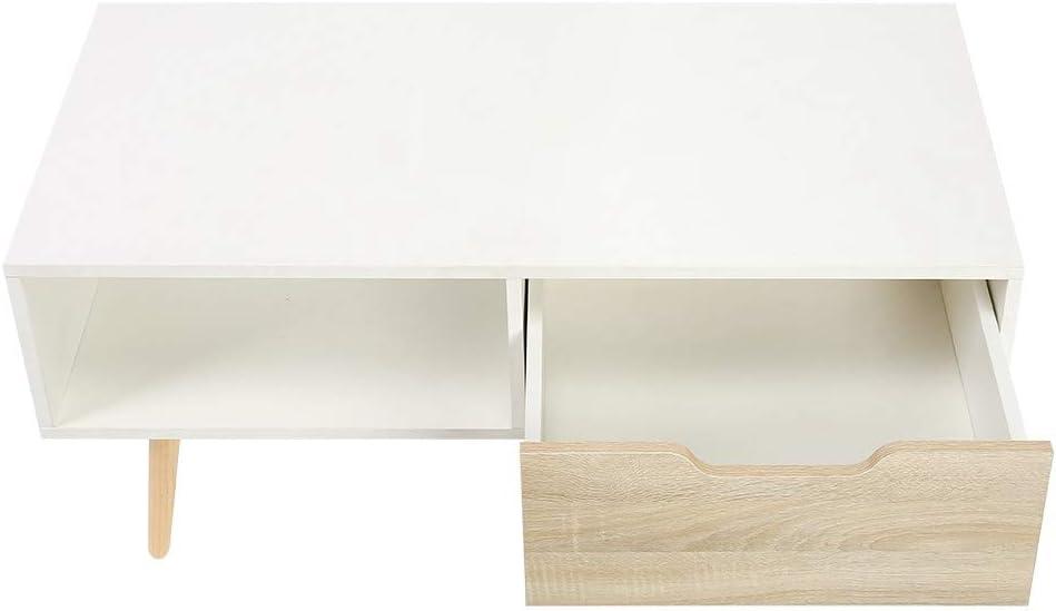 Elegante Tavolo da Soggiorno con Cassetti Tavolino da caff/è//Tavolino//Tavolino da Soggiorno in Stile Scandinavo in Legno per Camera da Letto Ufficio 100 x 50 x 44 cm Ejoyous Tavolino scandinavo