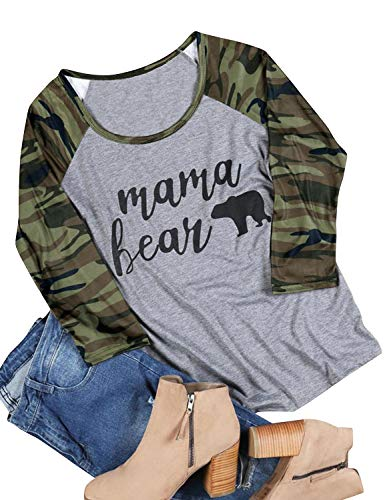 Nlife Women Casual Mama Bear Blosue Camouflage Raglan 3/4 Sleeve Shirts Tops Blouse