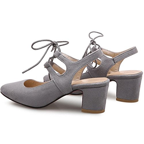 COOLCEPT Women Block Mid Heels Sandals Suede Leisure Dress Shoes Lace up Sling Back Pumps Shoes Grey kD7yBwxAB