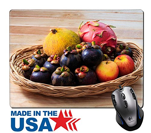 "Arrangement Mixed Basket (MSD Natural Rubber Mouse Pad/Mat with Stitched Edges 9.8"" x 7.9"" Fruits Various Fresh Ripe Fruits Placed in a Wicker Basket on Wooden Table IMAGE 30380469)"