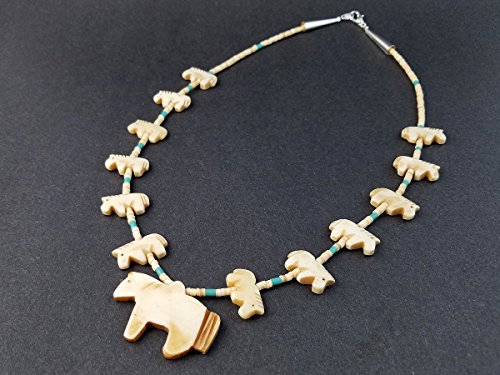 Hand Carved Bone Single Strand All Horse Fetish Choker Necklace
