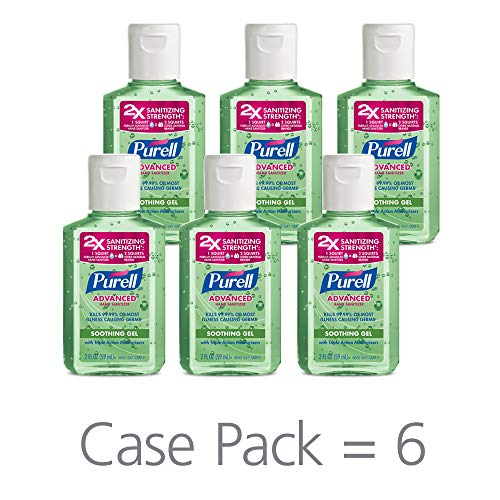 PURELL Advanced Hand Sanitizer Soothing Gel for the workplace, Fresh scent, with Aloe and Vitamin E - 2 fl oz bottle (Pack of 6) - 9682-04-EC