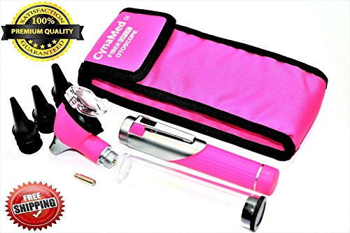 Premium Student Home USE LED Bright Light ENT Diagnostic Otoscope Pocket Size (Pink) + 1 Free Extra Replacement Bulb + 10 Specula A+ Quality (CYNAMED)