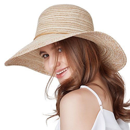 (SOMALER Women Floppy Sun Hat Summer Wide Brim Beach Cap Packable Cotton Straw Hat for Travel Beige)