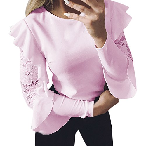 Women Blouse, Zulmaliu Butterfly Sleeve Lace Stitching O-Neck T-Shirt Solid Long Sleeve Pullover Tops (Pink, -