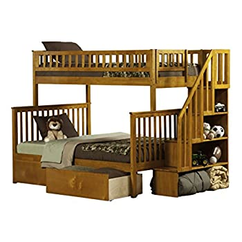 Image of Atlantic Furniture AB56642 Woodland Staircase Bunk Bed with Urban Bed Drawers, Twin/Twin, White Home and Kitchen