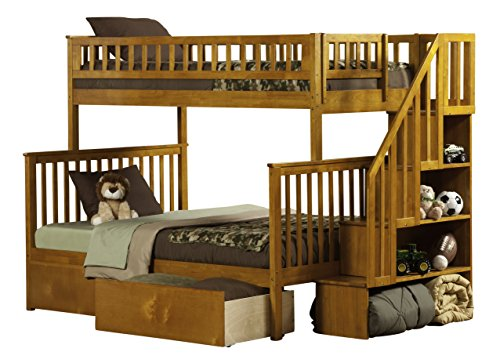 Woodland Staircase Bunk Bed with Urban Bed Drawers, Caramel Latte, Twin Over Full (Finish Oak Woodland Wood)