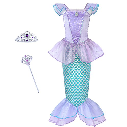 Mermaid Costume Princess Ariel Generic Dress with Crown and Magic Wand for Little Girls Party (Size 6) (Girl Ariel Costume)
