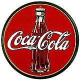 """COKE - Round 30's Bottle & Logo Tin Sign 11.75"""" dia."""
