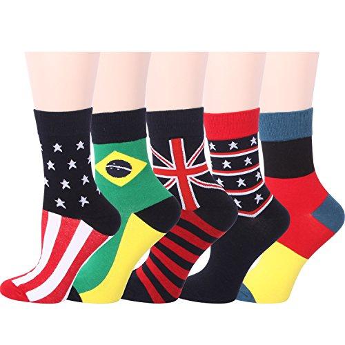 RioRiva Women's Casual Short Crew Socks for Girls Ladies 5 Pack National Flag Pattern,US 5-9/EU
