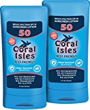 2 Pack - SPF 50-6 oz Coral Isles REEF FRIENDLY & Safe Sunscreen - Broad Spectrum, NO Oxybenzone, NO Octinoxate, NO Parabens, Water Resistant 80 min Sun Cream Lotion