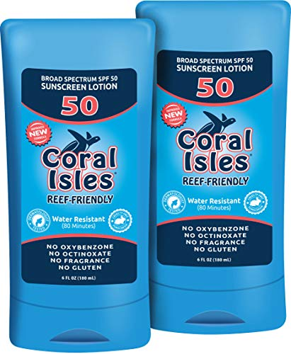(2 Pack - SPF 50-6 oz Coral Isles REEF FRIENDLY & Safe Sunscreen - Broad Spectrum, NO Oxybenzone, NO Octinoxate, NO Parabens, Water Resistant 80 min Sun Cream Lotion)