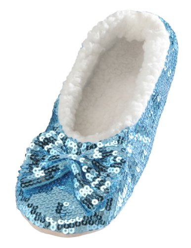 Snoozies Women's Ballerina Metallic Shine Sequin Slippers,Small,Blue