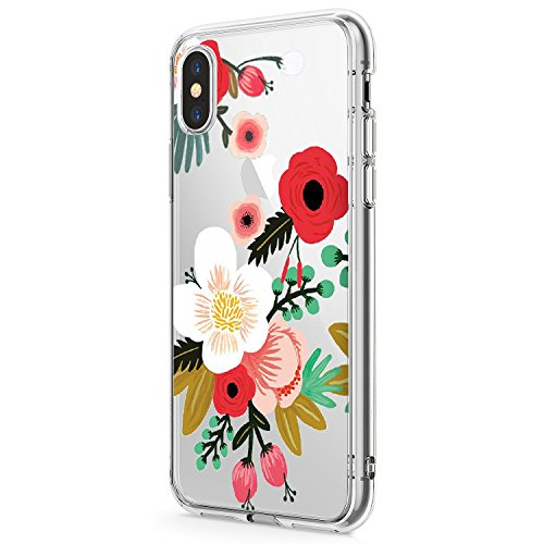 Case for iPhone Xs Max/iPhone XR Phone Case Silicone Gel Rubber Clear Flower TPU Bumper Shockproof Protective Cover (1, Apple iPhone Xs ()
