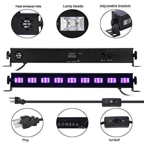 Black Light,HomRealm 9LED UV LED Bar Light,Glow Dark Party Supplies for Blacklight Party Fluorescent Party Light Birthday Wedding Stage Dance Floor Lighting with Remote Control by HomRealm (Image #2)