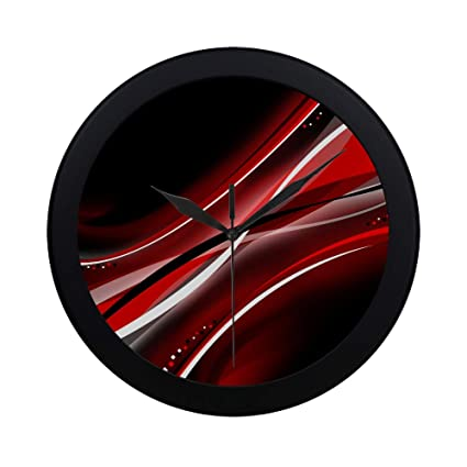 Modern Simple Black And Red Abstract Mobile Wallpaper Amaz Pattern Wall Clock Indoor Non Ticking Silent Quartz Quiet Sweep Movement Wall Clcok For