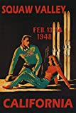 """COUPLE 1948 SKI SKIING SKIS WINTER SPORT IN SQUAW VALLEY CALIFORNIA USA TRAVEL TOURISM 20"""" X 30"""" VINTAGE POSTER REPRO MATTE PAPER WE HAVE OTHER SIZES"""