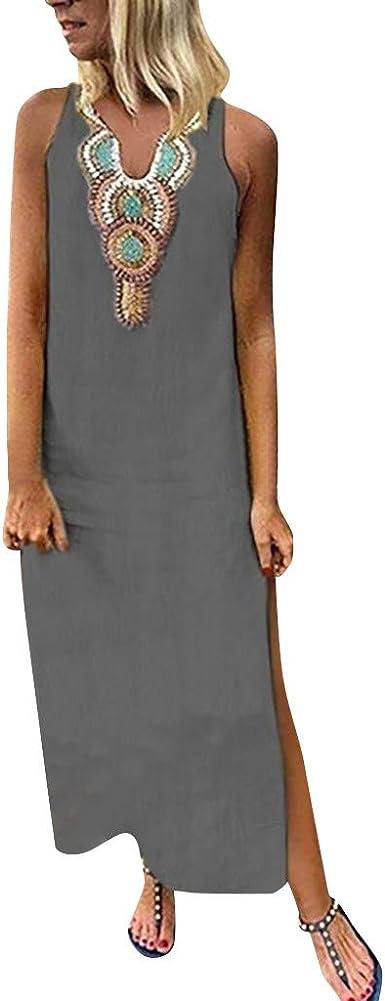 Vestido Mujer Largo,Sonnena Falda Larga Sin Mangas con Estampado ...