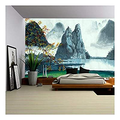 Elegant Piece of Art, Made to Last, Chinese Mountains Fog Autumn and Lake