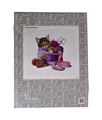 Thea Gouverneur 16 Count Counted Cross Stitch Kit, 12-1/4 by 11-3/4-Inch, Sewing Basket Kitten on ()