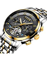 Mens Watches Top Luxury Brand LIGE Fashion Automatic Mechanical Watch Man Waterproof Full Steel Wrist Watch Business Gold