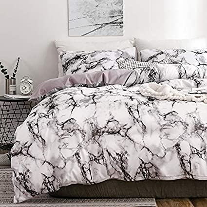 be5ee777a0c05 Spring Meow Duvet Cover Set, White Marble, 100% Microfiber Polyester, White  Marble, 3-Piece(1 Duvet Cover + 2 Pillow Shams) -(White, King)