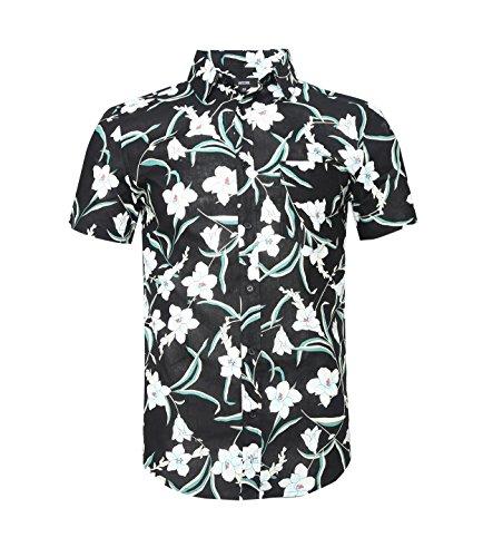 Mens New Cotton Hawaiian Shirt - ALTOGUSTO Men's Flower Print Casual Button Down Short Sleeve Shirt Hawaiian ShirtsPrint1M