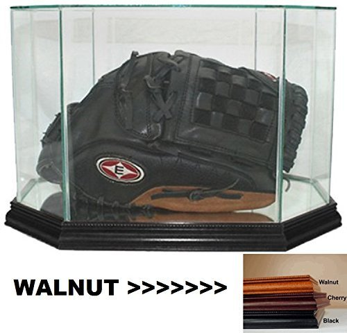 Perfect Cases MLB Octagon Baseball Glove Glass Display Case, Walnut (Retractable Plastic Leash)