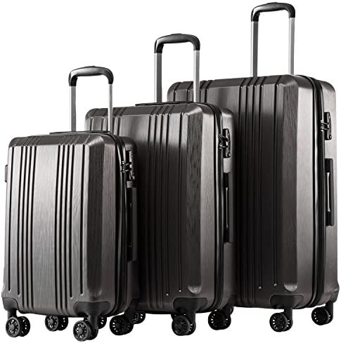 Coolife Luggage Expandable Suitcase PC ABS 3 Piece Set