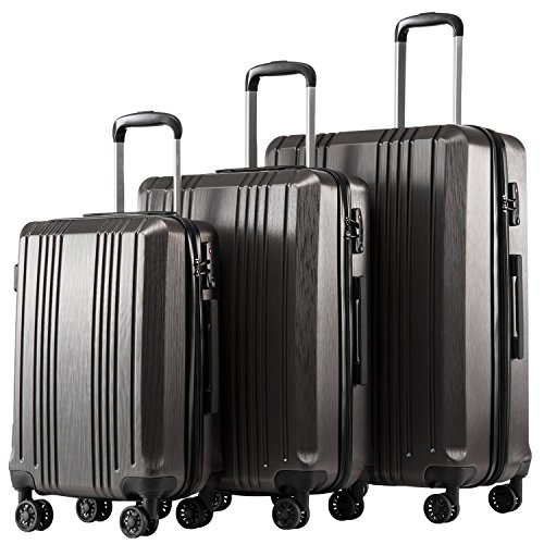 Coolife Luggage Expandable Suitcase PC+ABS 3 Piece Set with TSA Lock Spinner 20in24in28in (Best 4 Wheel Suitcase Review)