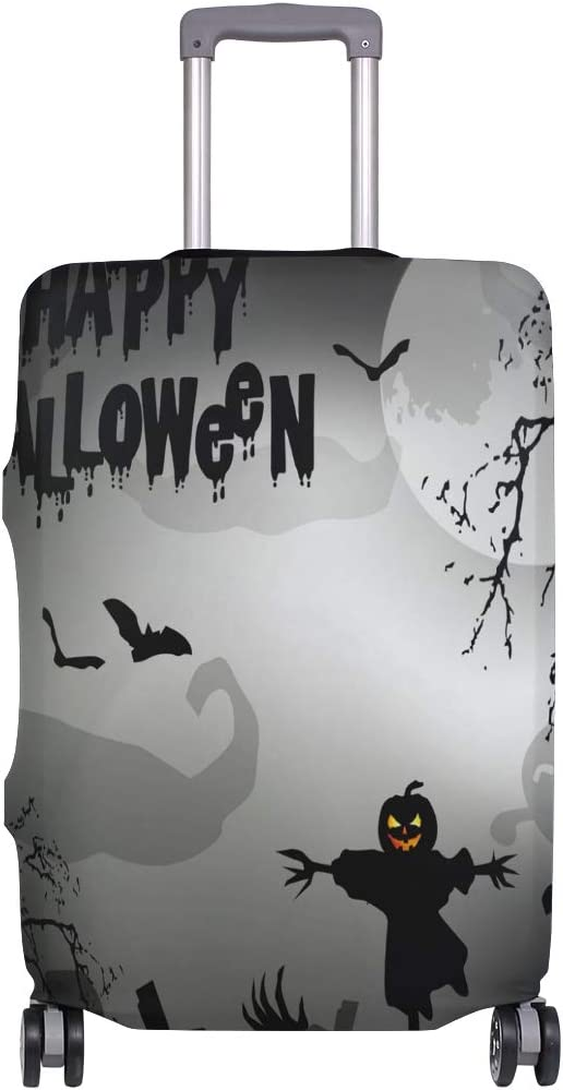 FOLPPLY Happy Halloween Ghost Bat Luggage Cover Baggage Suitcase Travel Protector Fit for 18-32 Inch