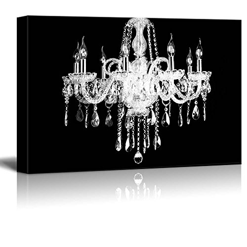 wall26 Canvas Wll Art - Crystal White Chandelier on Black Background - Giclee Print and Stretched Ready to Hang - 12